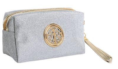 Glitter make up tasje zilver met gouden details