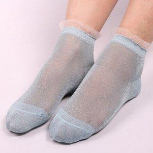 Korte sokjes groen met zilveren glitters