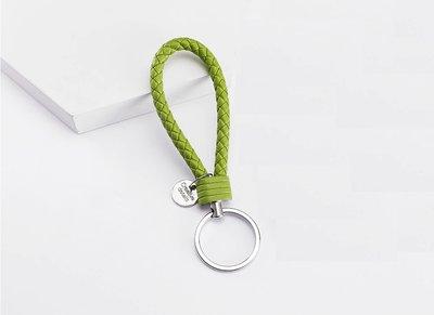 Sleutelhanger gevlochten groen leer