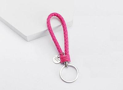 Sleutelhanger gevlochten roze leer