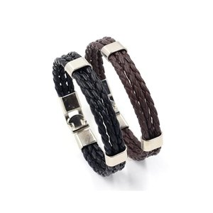 Heren armband 3 rijen zwart leer