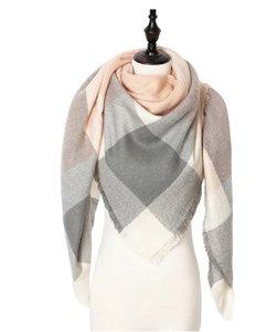 Wintersjaal driehoek roze/grijs/wit