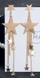 Glitter ster oorbellen goudkleurig