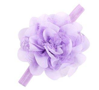 Baby haarband grote bloem , lila