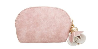 Coin purse PU leather met sleutelring - Roze