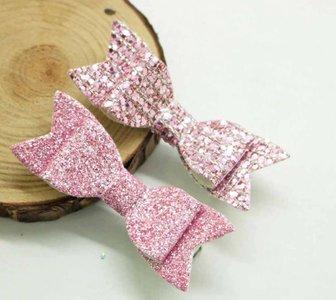 Haarclipjes glitter strik - Roze