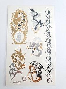 Flash tattoos dragon goud/zilver