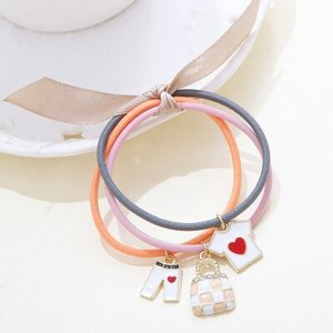Haar elastieken met bedels - roze/oranje/grijs