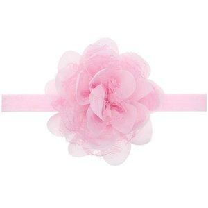 Baby/kinder haarband grote bloem - Licht roze