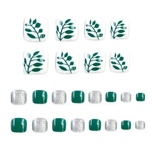 Nep teen nagels - Groen/Wit