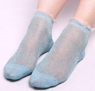 Glitter sokjes - Blauw