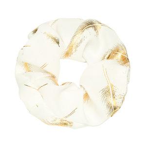 Scrunchie golden feather wit