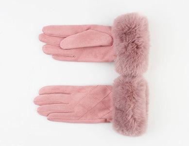 Handschoenen furr - Vintage roze