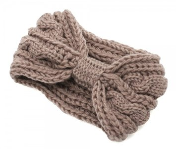 Knitted bow headband - Taupe
