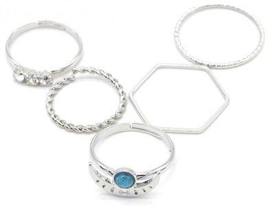 Ringen set blue moon - Maat 16