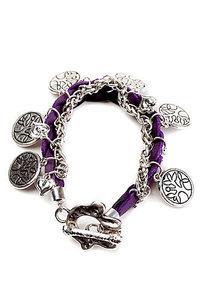 Gevlochten armband met schakels en bedels donker paars