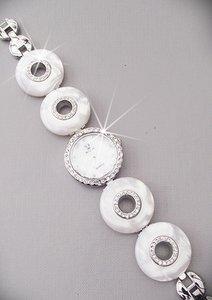 Horloge met strass - wit/zilver