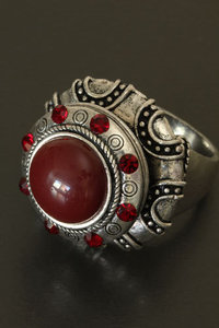 Ring zilver/rood