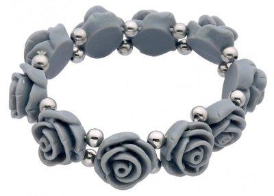 Armband met grijze roosjes