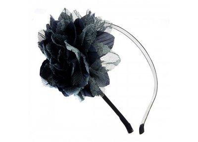 Haarband met bloem grijs