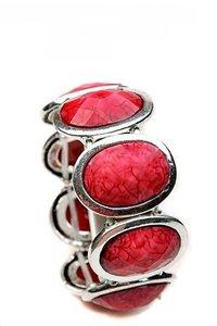 Elastische armband rood/zilver