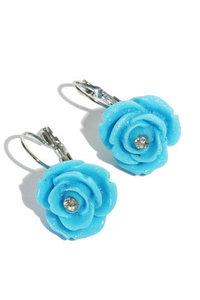 Oorbellen roosjes blauw