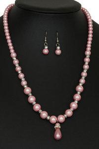 Parel Ketting + oorbellen roze