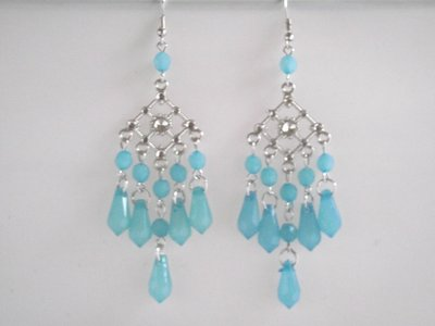 Lange oorbellen zilver met blauw