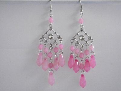 Oorbellen zilver met roze kralen