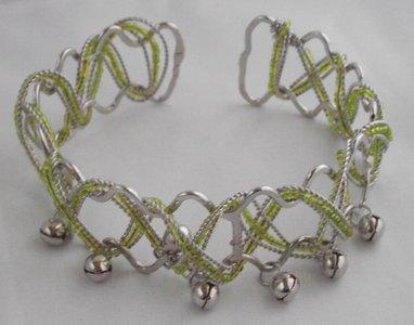 Upperarm armband zilver/groen