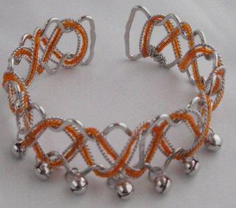 Upper-arm armband zilver/oranje