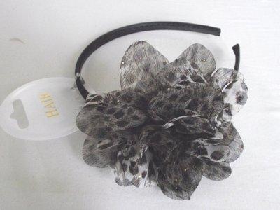 Haarband met dierenprint bloem (bruin)