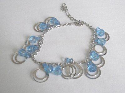 Enkelbandje met zilver, blauw