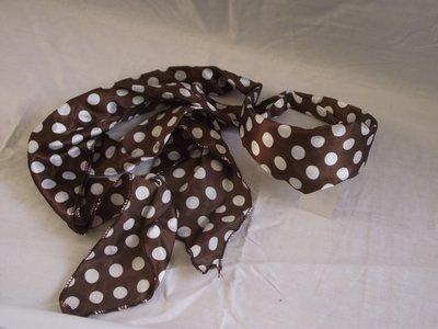Haarband met sjaal (bruin,witte stip)