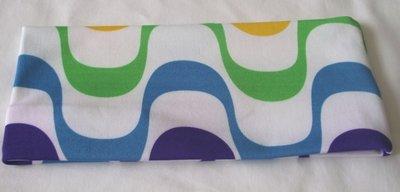 Elastische retro haarband blauw/groen
