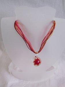 Ketting met glashanger (rood)