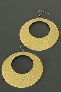 Ronde metalen oorbellen ( geel)