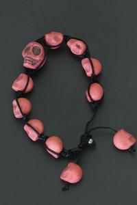 Shamballa stijl armband met roze skulls