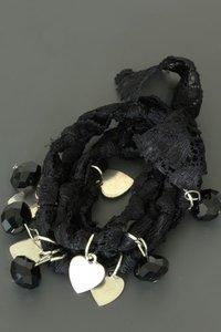 Zwart kanten armbanden set met bedels