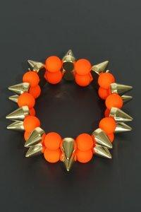 Elastische armband spikes neon oranje