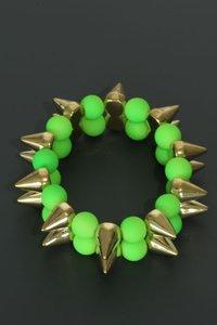 Elastische armband met spikes neon groen