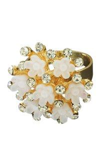 Ring met strass en witte bloemen