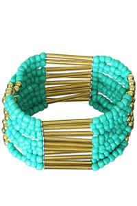 Brede kralen armband - goud/groen