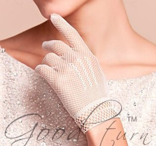 Witte opengewerkte stretch handschoenen kort