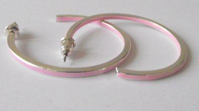 Creolen zilver met licht roze