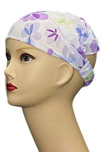 Bandana/haarband 3 in 1 bloem paars/blauw/groen
