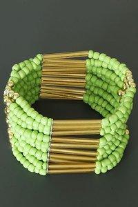 Brede kralen armband - groen/goud