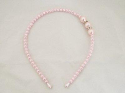 Parel/strass haarband -  Licht roze