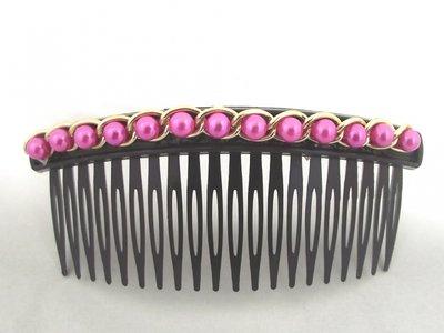 Haarkam roze parels