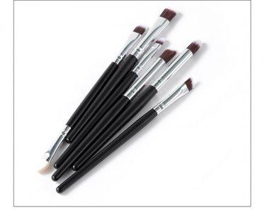 Make-up kwasten set 6 delig zwart/zilver